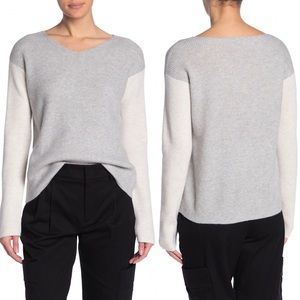 Vince V-Neck Colorblock Wool Cashmere Blend Top S